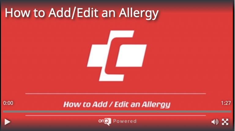How to Add/Edit an Allergy